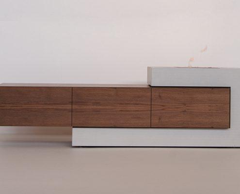 Sideboard aus BEton mit Holz Aufbewahrung