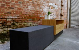 Sideboard dunkler Beton mit Holz Eiche