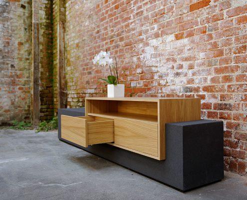 Sideboard Beton anthrazit mit Holz Aufbewahrung Schub