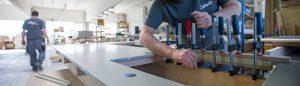 Herstellung Betonarbeitsplatte in Werkstatt