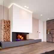 Kaminbank lang aus Beton mit Holzaufbewahrung