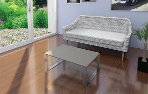 Wohnzimmer Couchtisch mit Betonplatte auf Eldestahlkufen