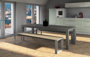 Betontisch in Küche mit Betonbank mit Metallbeinen