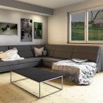 Wohnzimmer Couchtisch mit dünner Betonplatte auf Metallgestell