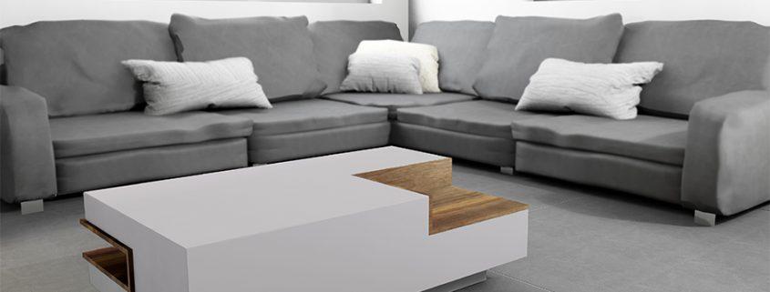 Wohnzimmertisch aus Beton mit Einsätzen aus Holz