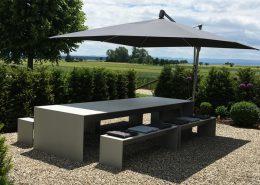 Betonplatten dünn Tisch Bank