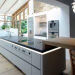 Kueche in Wintergarten mit Kücheninsel - Arbeitsflaeche Beton